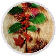 Red Holly Spinning Round Beach Towel