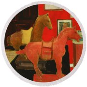 Red Horse Round Beach Towel
