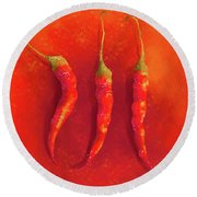 Hot Chili Peppers Round Beach Towel