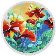Red Hot Cool Blue Round Beach Towel