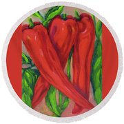 Red Hot Peppers Round Beach Towel