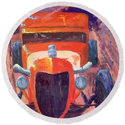 Red Hot Rod Sedan Round Beach Towel