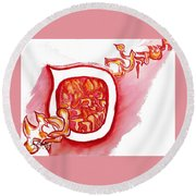 Red Hot Samech Round Beach Towel