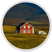 Red House And Horses - Iceland Round Beach Towel