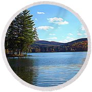 Red House Lake Allegany State Park In Autumn Expressionistic Effect Round Beach Towel