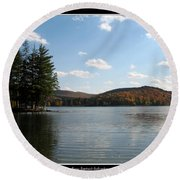 Red House Lake Allegany State Park Ny Round Beach Towel