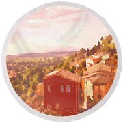 Red House On A Hill Round Beach Towel