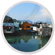 Red House On The Water Round Beach Towel