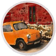Red House With Orange Car Round Beach Towel