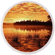 Red In The Morning Round Beach Towel