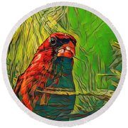 Red In The Tree Round Beach Towel