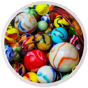 Red Jar Spilling Marbles Round Beach Towel