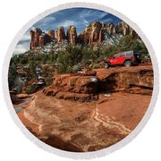 Red Jeep On The Rocks Round Beach Towel
