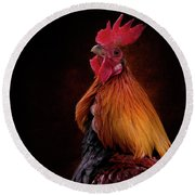 Red Jungle Fowl Rooster Round Beach Towel