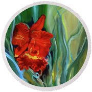 Red Jungle Orchid Round Beach Towel