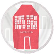 Round Beach Towel featuring the mixed media Red Kaffestua- Art By Linda Woods by Linda Woods