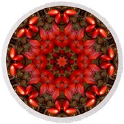 Red Kaleidoscope No. 1 Round Beach Towel by Lyle Hatch
