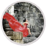 Red Lady At Candi Sewu Round Beach Towel