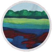 Red Lake Round Beach Towel