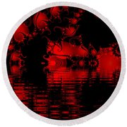 Red Lake Cave Fractal Round Beach Towel