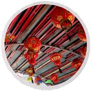 Round Beach Towel featuring the photograph Red Lanterns 1 by Randall Weidner