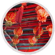 Round Beach Towel featuring the photograph Red Lanterns 2 by Randall Weidner