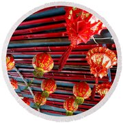 Round Beach Towel featuring the photograph Red Lanterns 3 by Randall Weidner