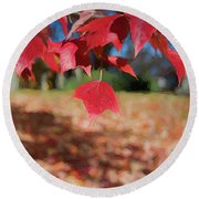 Red Leaves Round Beach Towel