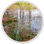 Round Beach Towel featuring the photograph Red Leaves Have Fallen by Michelle Calkins