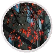 Round Beach Towel featuring the photograph Red Leaves by Yulia Kazansky