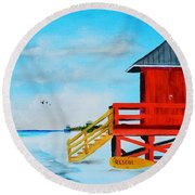 Red Life Guard Shack On The Key Round Beach Towel
