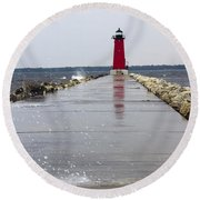 Round Beach Towel featuring the photograph Red Lighthouse by Tara Lynn