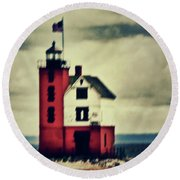 Red Lighthouse Round Beach Towel