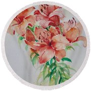 Red Lilies Round Beach Towel