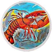 Red Lobster Abstract  Round Beach Towel by Scott D Van Osdol