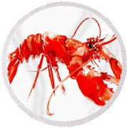 Red Lobster Round Beach Towel by Suren Nersisyan