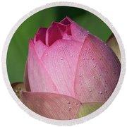 Red Lotus Blossom Round Beach Towel