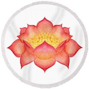 Round Beach Towel featuring the painting Red Lotus by Elizabeth Lock