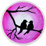Round Beach Towel featuring the painting Red Love Birds Silhouette by Bob Baker