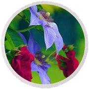 Red Meets Lavender Round Beach Towel