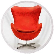 Red Mid Century Modern Chair Round Beach Towel by Edward Fielding