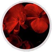 Red  Midnight Magic Flowers Round Beach Towel