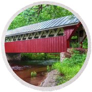 Red Mill Covered Bridge Round Beach Towel by Trey Foerster