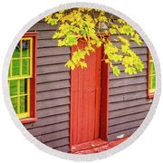 Red Mill Door In Fall Round Beach Towel