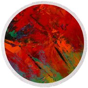 Round Beach Towel featuring the painting Red Mood by Elise Palmigiani