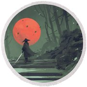 Round Beach Towel featuring the painting Red Moon Night by Tithi Luadthong