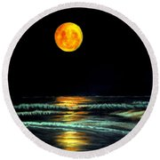 Round Beach Towel featuring the pastel Red Moon Rising by Antonia Citrino
