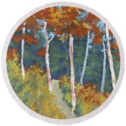 Red Mountain Aspens Round Beach Towel