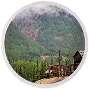 Red Mountain Remnants Round Beach Towel