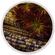 Red Mums And Indian Corn Round Beach Towel